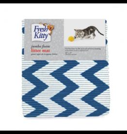 """Fresh Kitty Foam Litter Mat 40"""" x 25"""" blue chevron"""