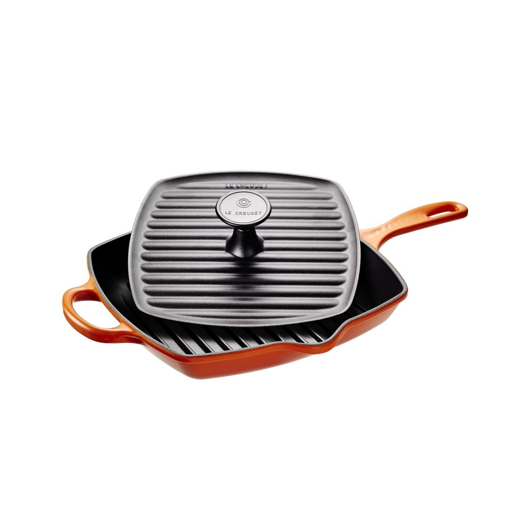LE CREUSET Signature Set 2 Pc Square Grill & Press Flame