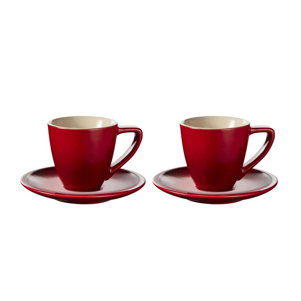 LE CREUSET Set 2 Pc .07 L Espresso Cup/Saucer Cerise