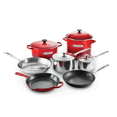LE CREUSET Unique Ultimate Cookware Set Cerise