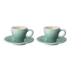 LE CREUSET Classic Set 2 Pc .07 L Espresso Cup/Saucer Sage