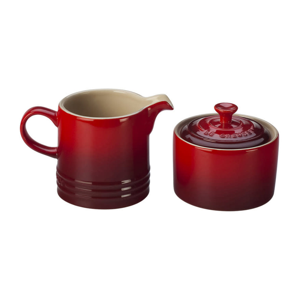 LE CREUSET Classic Set 2 Pc Cream & Sugar Cerise
