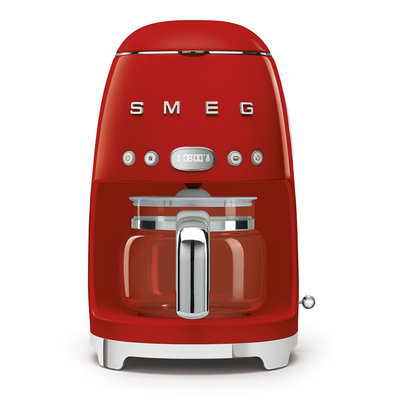 SMEG 10 Cup Drip Coffee Maker 50'S Style Red
