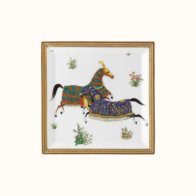 HERMES Cheval D'orient Square Plate Nº4 7.5''