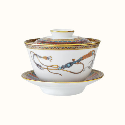 HERMES Cheval D'orient Tea Cup With Lid And Saucer, Large Model Asiatique 4.4 Oz