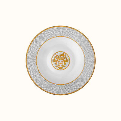 HERMES Mosaique Au 24 Or Assiette Creuse 8.7'' - 22 Cm