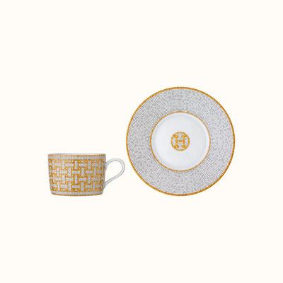 HERMES Mosaique Au 24 Gold Tea Cup And Saucer 5.4 Oz