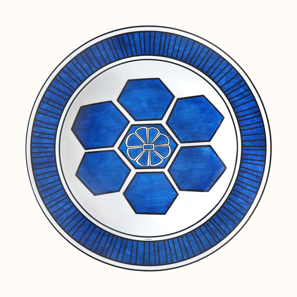 HERMES Bleus D'ailleurs Plat Rond Creux 11.6'' - 29.5 Cm