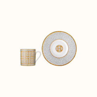 HERMES Mosaique Au 24 Gold Coffee Cup And Saucer 3.4 Oz