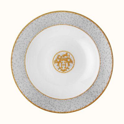 HERMES Mosaique Au 24 Gold Round Deep Platter 29.5 Cm