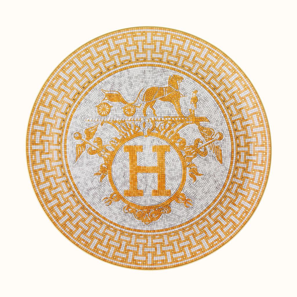 HERMES Mosaique Au 24 Or Plat À Tarte 12.6'' - 32 Cm