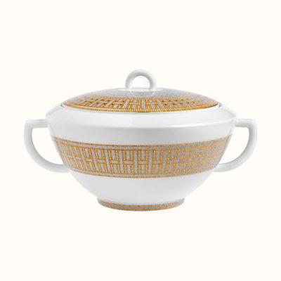 HERMES Mosaique Au 24 Gold Soup Tureen 101.4 Oz