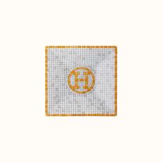 HERMES Mosaique Au 24 Or Petite Assiette Carré Nº1 2.8 X 2.8'' - 7 X 7 Cm