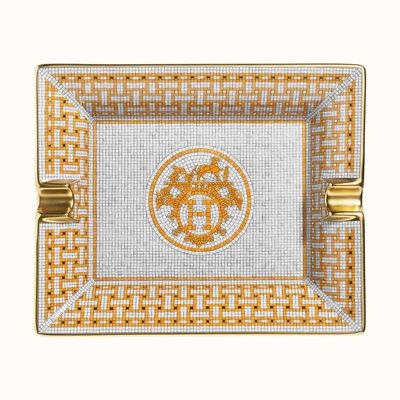 HERMES Mosaique Au 24 Or Cendrier Rectangulaire 7.7 X 6.3''