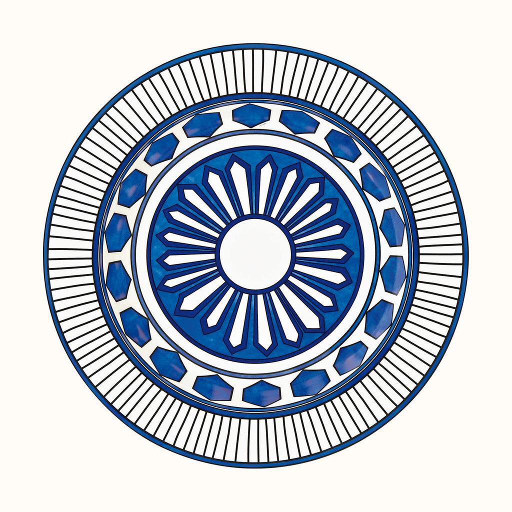 HERMES Bleus D'ailleurs Grand Plat Rond Creux 16.5'' - 42 Cm
