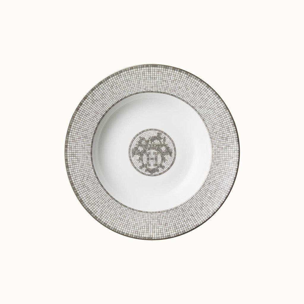 HERMES Mosaique Au 24 Platine Assiette Creuse 8.7'' - 22 Cm