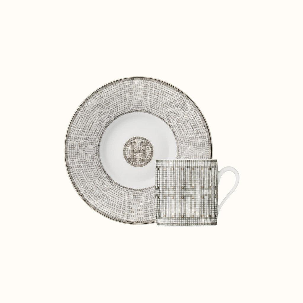 HERMES Mosaique Au 24 Platine Tasse À Café Et Soucoupe 3.4 Oz