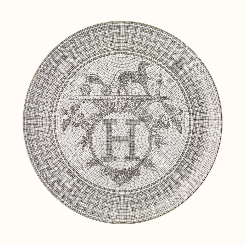 HERMES Mosaique Au 24 Platine Plat À Tarte 12.6'' - 32 Cm