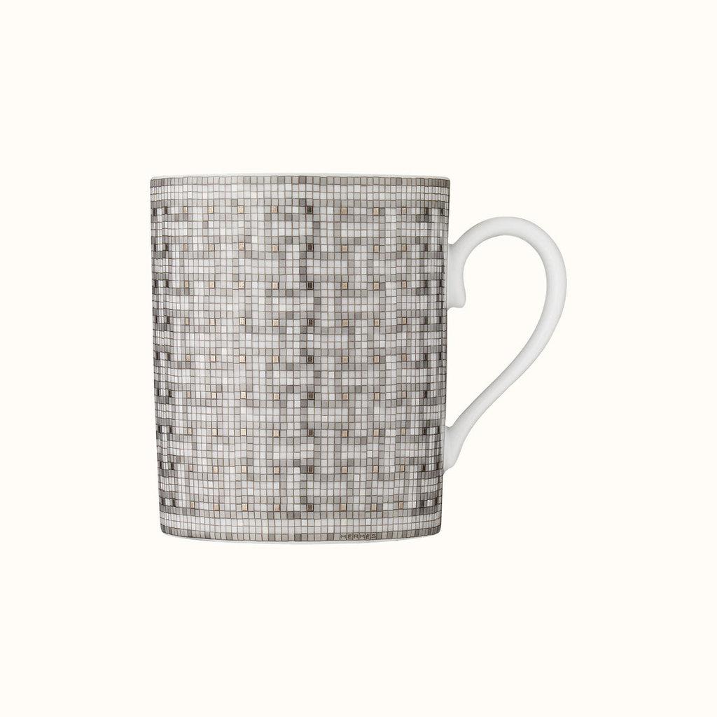 HERMES Mosaique Au 24 Platine Mug 10.5 Oz