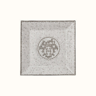 HERMES Mosaique Au 24 Platine Petite Assiette Carrée Nº3 5.9 X 5.9'' - 15 X 15 Cm