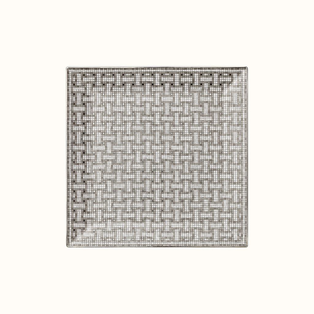 HERMES Mosaique Au 24 Platine Petite Assiette Carrée Nº4 7.5 X 7.5'' - 19 X 19 Cm