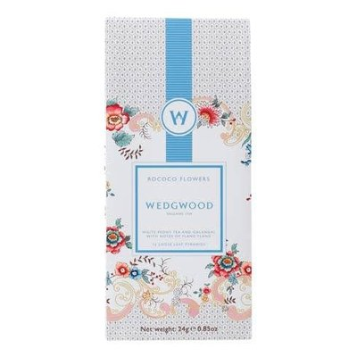 WEDGWOOD Wonderlust White Tea Box/12 Rococo Flowers