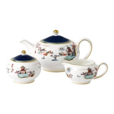 WEDGWOOD Wonderlust 3-Piece Tea Set S/S (Teapot, Sugar & Creamer) Blue Pagoda