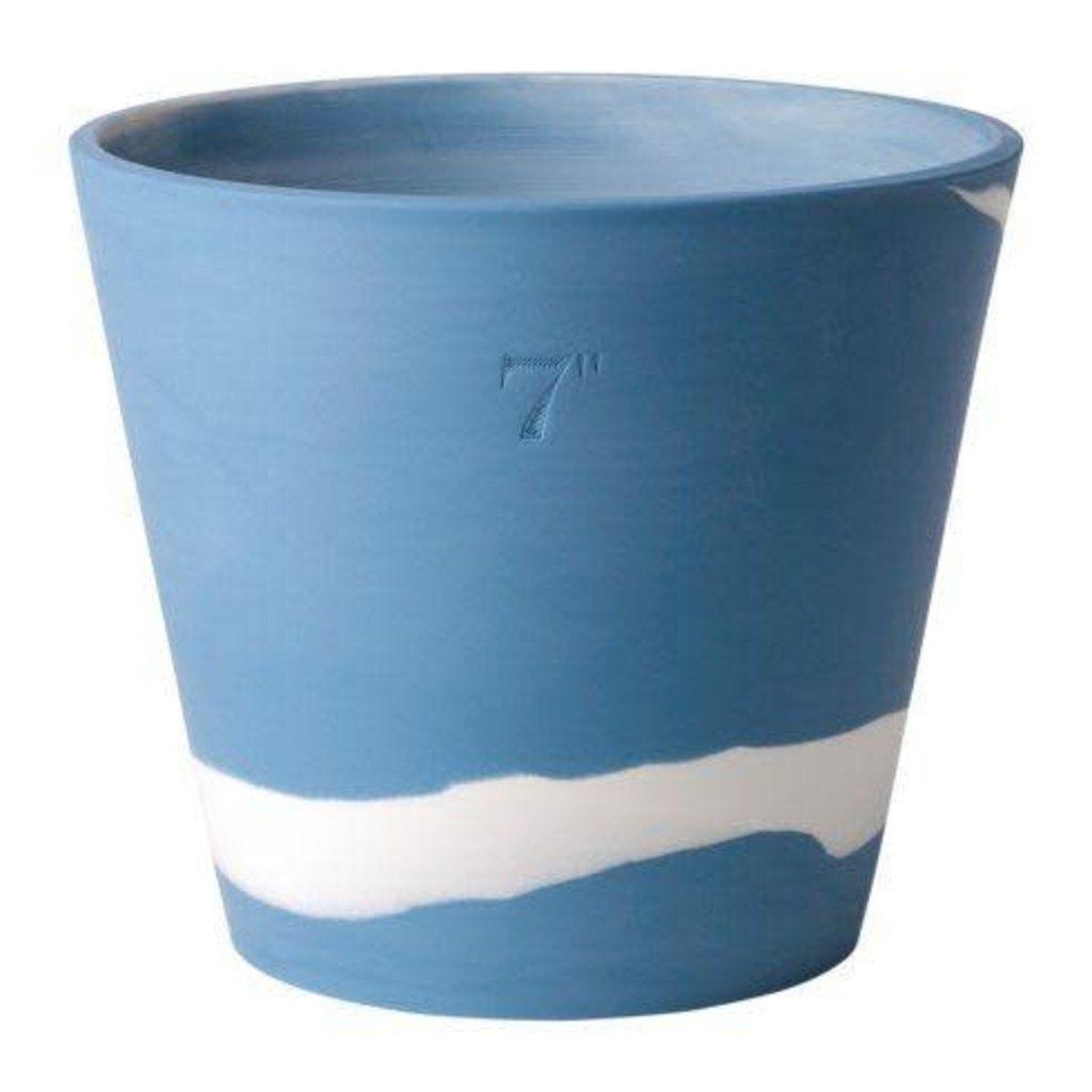 "WEDGWOOD Jasperware Burlington Pot 7"" Bleu & Blanc"
