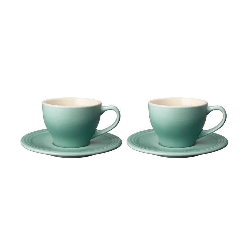 LE CREUSET Classic Set 2 Pc .2 L Cappuccino Cup/Saucer Sage