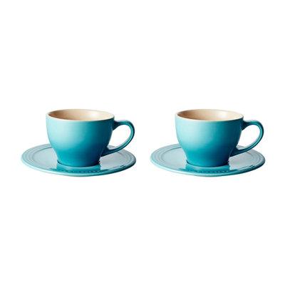 LE CREUSET Classic Set 2 Pc .2 L Cappuccino Cup/Saucer Caribn