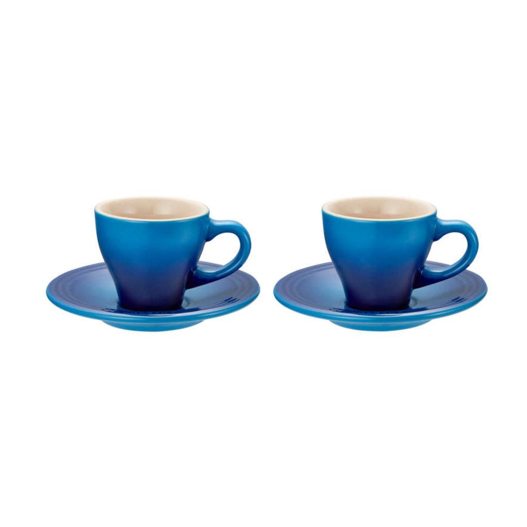 LE CREUSET Classic Set 2 Pc .07 L Espresso Cup/Saucer Blueberry