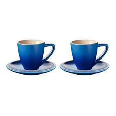 LE CREUSET Set 2 Pc .07 L Espresso Cup/Saucer Blueberry