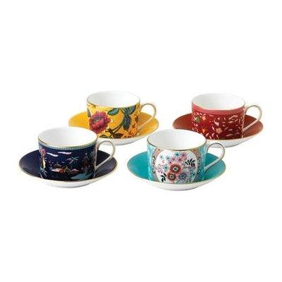 WEDGWOOD Wonderlust Teacup & Saucer Set/4 (Blue Pagoda, Camellia, Crimson Jewel & Yellow Tonquin)