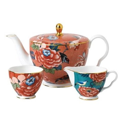 WEDGWOOD Paeonia Blush 3-Piece Tea Set (Teapot, Sugar & Creamer)
