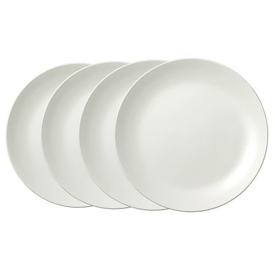"WEDGWOOD Vera Wang Vera Perfect White Dinner Plate 10.75"" Set/4"