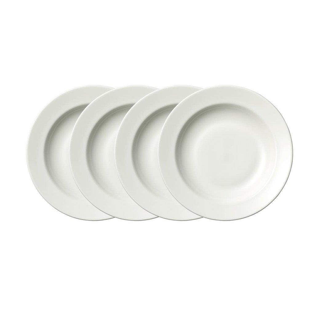 "WEDGWOOD Vera Wang Vera Perfect White Rim Soup 9"" Set/4"
