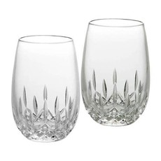 WATERFORD Lismore Nouveau Stemless Wine White 8 Oz Set/2