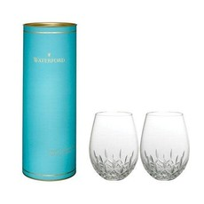 WATERFORD Lismore Nouveau Stemless Wine Deep Red 12 Oz Set/2