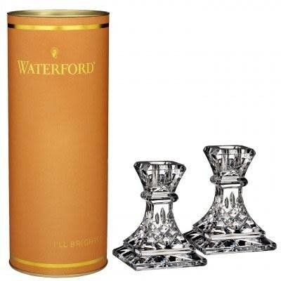 "WATERFORD Giftology Lismore Candlestick 4"" Pair (Orange Tube)"
