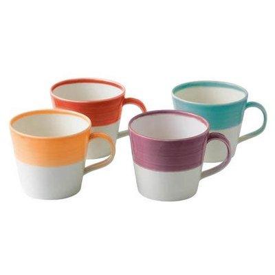ROYAL DOULTON 1815 Mixed Patterns Mug Set/4 Bright Colors