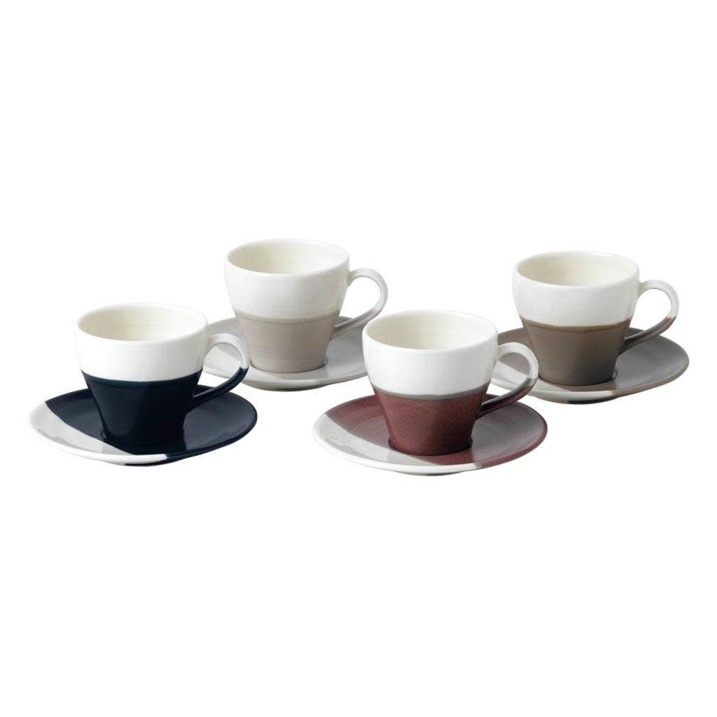 ROYAL DOULTON Coffee Studio Espresso Cup & Soucoupe 3.7 Oz Ensemble/4 Mixed Couleurs
