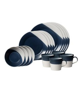 ROYAL DOULTON Bowls Of Plenty 16-Piece Set Dark Blue