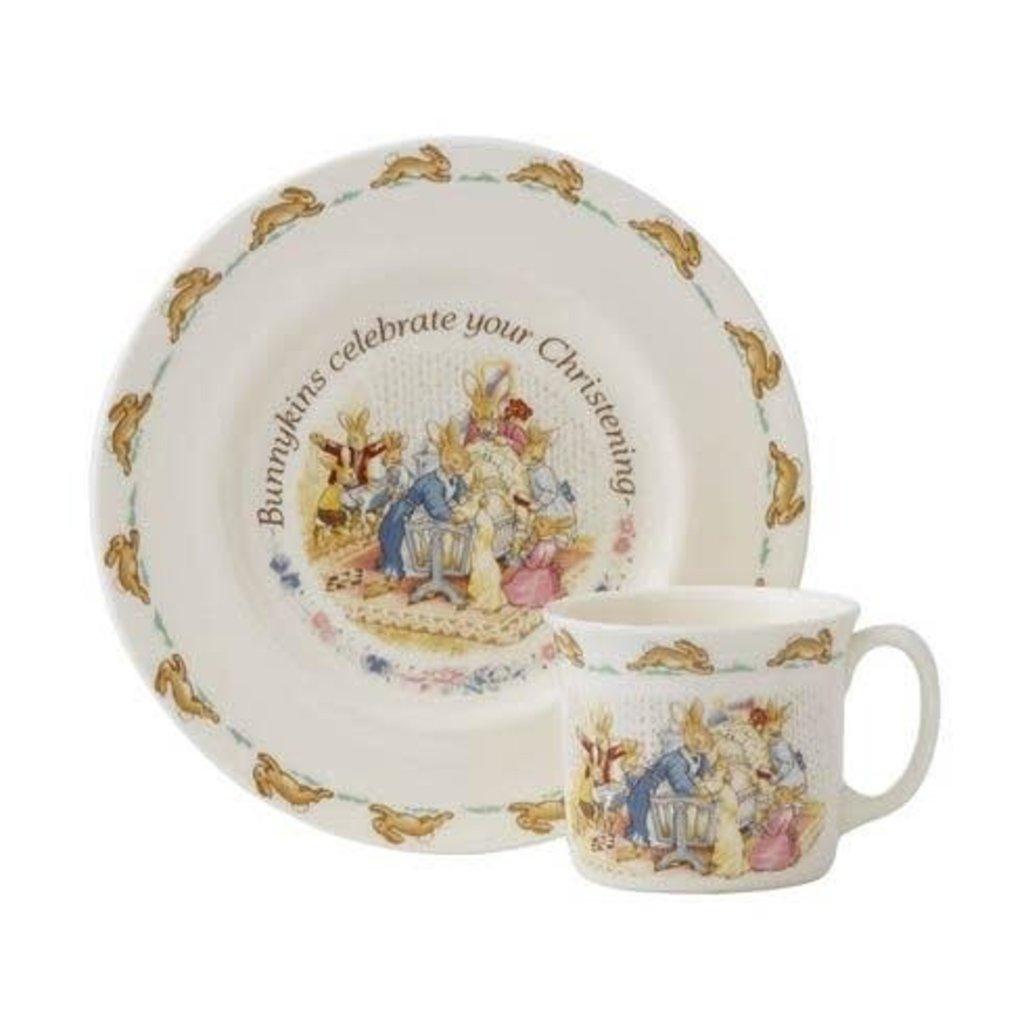 ROYAL DOULTON Bunnykins 2-Piece Christening Set (Plate & One Handled Mug)