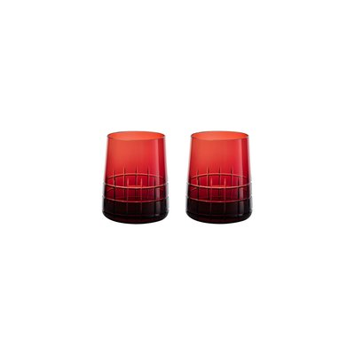 CHRISTOFLE Graphik Coffret De 2 Gobelets Rouge En Cristal 3 6/7'' - 6 3/4 Oz