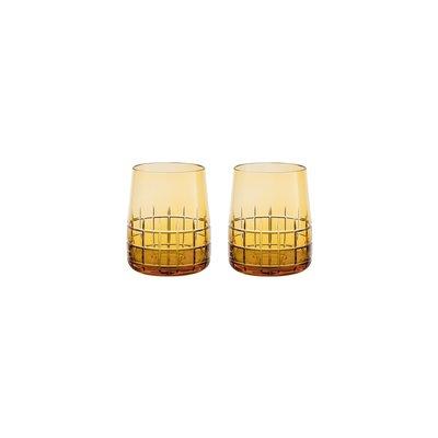 CHRISTOFLE Graphik Coffret De 2 Gobelets Ambre En Cristal 3 6/7'' - 6 3/4 Oz