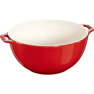 "STAUB Ceramic 9.8"" Large Serving Bowl Cherry Red"