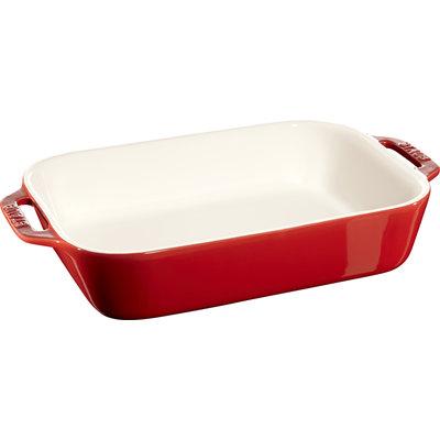 """STAUB Ceramic 10.6"""" X 7.9"""" Rectangular Dish Cherry Red"""