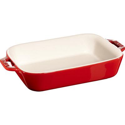 """STAUB Ceramic 7.9"""" X 6.3"""" Rectangular Dish Cherry Red"""