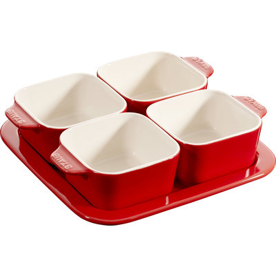STAUB Ceramic Appetizer Ensemble Cerise Rouge
