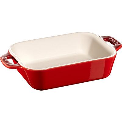 """STAUB Ceramic 5.5"""" X 4.3"""" Rectangular Dish Cherry Red"""